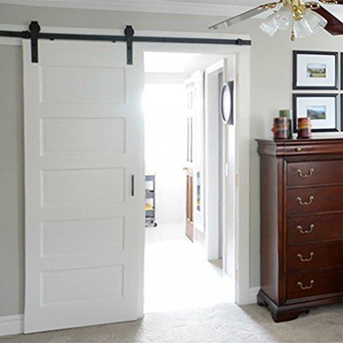 hahaemall Basic Vintage Hanger scorrevole porta hardware fissaggio in acciaio nero binario singolo in legno (Singolo Barndoor)