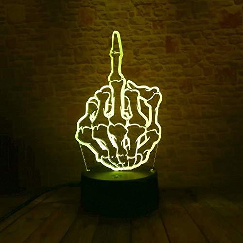WangZJ 3d Nachtlicht / 3d Illusion Lampe / 7 Farbwechsel Lampe/weihnachten/geburtstag/kinder Geschenk/bar Beste Geschenk/Spielzeug/Schädel Mittelfinger
