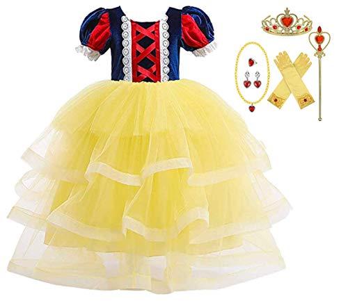 EMIN Mädchen Cosplay Kleid Prinzessin Schneewittchen Kostüm Tutu Kinder Baby Märchen Kostüme Geburtstag Karneval Party Halloween Festival Partykleid Faschingskostüm Verkleidung Festkleid 80-141cm (Teenager Holloween Kostüm)