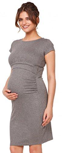 Happy Mama. Femme Robe mi-longue d'allaitement maternité. Double couches. 971p Gris Chiné