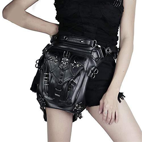 Rocker Kostüm Bilder - Steampunk Wandern Gürteltasche Steampunk Retro Motorrad Tasche Retro Rock Gothic Goth Schulter Gürteltasche Drop Leg Bag für Motorrad Steampunk Kostüm im Freien (Farbe : Schwarz, Größe : Free)
