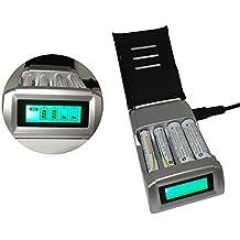 MoPei Cargador para Pilas, Cargador Rápido para Baterías de 4 Bahías AA / AAA Ni-Mh Ni-Cd Baterías Recargables, Cargador Rápido de Baterías Inteligente LCD Ultra Ligero