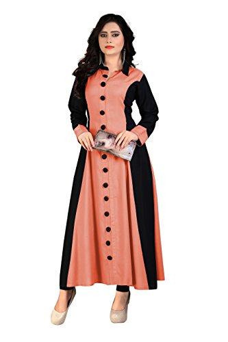 Madhuram Textiles Women's Rayon Princess Cut Kurta (M-114 PH S_Peach_Small)