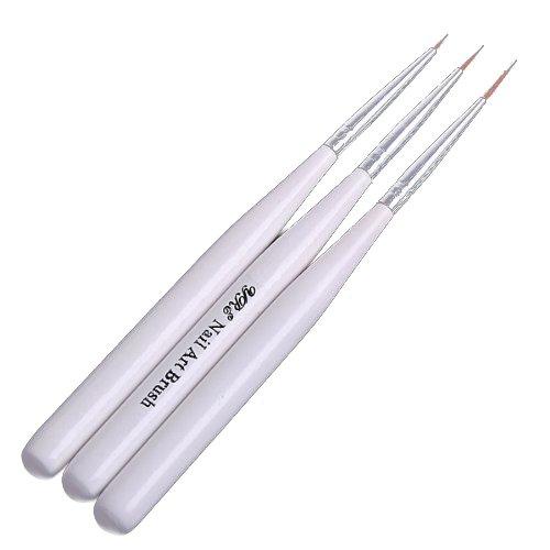 Nagel Pinsel - TOOGOO(R)3 Stueck Nagel Kunst Design Pen Malerei Punktierung Pinsel Set - Weiss