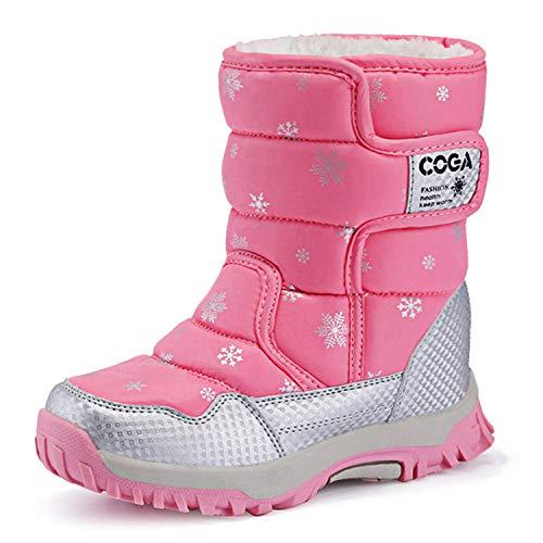 BIGU Kids Snow Boots Girls Boys High-top Waterproof Outdoor Hiking Warm Shoes Winter Fur Lined Boots Purple Black Pink