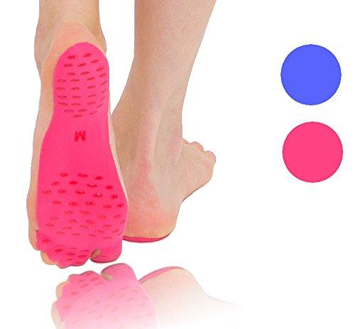 Klebesohlen - 1 Paar Stick on Soles für den recheten und linken Fuß Yoga Pilates Sohle Barfuß Schutz barefoot pink blau anti Rutsch Grip Sand Wellness Spa Outdoor Schuhersatz (Dunkelblau, M)