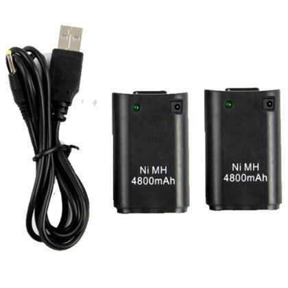 Besdata® 2 NEW XBOX 360 BLACK RECHARGEABLE BATTERY PACK + 1 PLUG AND PLAY CHARGER - Ultra High Capacity - Overcharging Protecting -