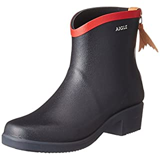 Aigle Women's Miss Juliette Bottillon Wellington Boots, Blue (Marine/Rouge), 5 UK