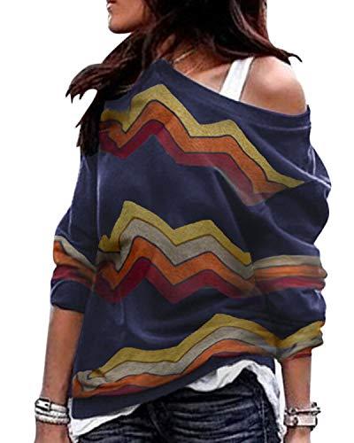 YOINS Sexy Schulterfrei Oberteil Damen Shirt Off Shoulder Top Pullover Damen Rollkragen Langarm Gestreift Pulli Lose Tshirt Hemd A-Marineblau EU36-38  (Herstellergröße:M)