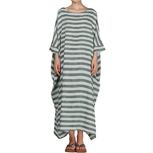 QIMANZI Damen Boho Gestreift Kleider 3/4 Ärmel O-Neck Beiläufig Lose Kaftan Lange Maxi Kleid(Grün,S) -