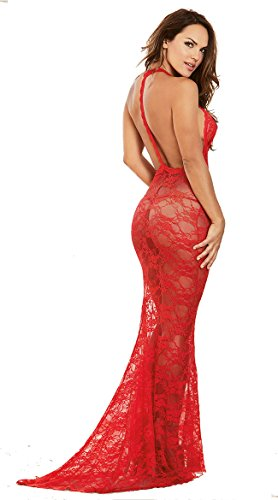 Hangang Lingerie sexy per le donne per il lungo abito lungo abito lungo abito da sera chemise lungo abito lungo in pizzo chemise Red