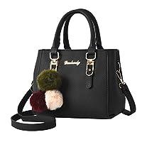 KIMODO Women Hairball Ornaments Tote Solid Sequins Handbag Purse Messenger Shoulder Bag