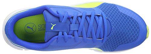 Puma Flexracer, Baskets Basses Mixte Enfant Bleu - Blau (Electric Blue lemonade-safety Yellow 04)