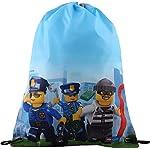 LEGO Bags - Sacca sportiva con cordoncino, motivo Police Chopper, 41 cm, 8 litri  LEGO