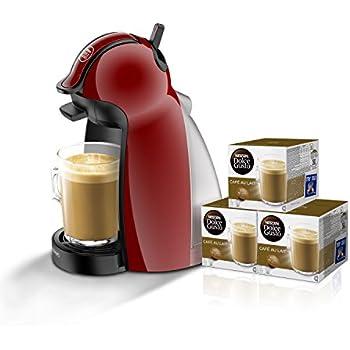 Pack DeLonghi Dolce Gusto Piccolo EDG200.R - Cafetera de cápsulas, 15 bares de presión, color rojo + 3 packs de café Dolce Gusto Con Leche