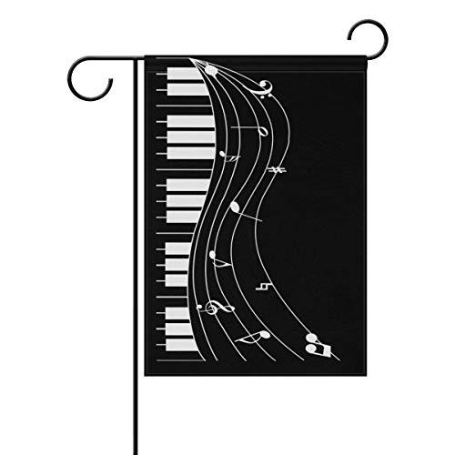 Dozili Bandiera Piano Music Notes Home Decoration Garden Flag Resistente agli Agenti atmosferici & Doppio Yard Flag, Poliestere, Colorato, 12.5' x 18'