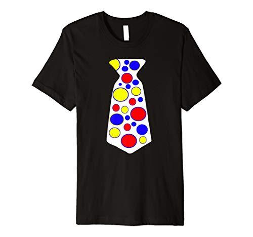 Big Jumbo Clown Tie Shirt Red Yellow Blue Polka Dots