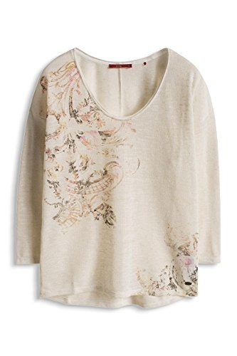 edc by ESPRIT Damen T-Shirt 016cc1k020-Im Materialmix Weiß (OFF WHITE 110)