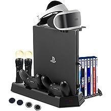FlexDin PlayStation 4 base vertical con 14 Slots para juegos PS4/ PS VR, estación de carga para Mandos PS3/ PS4 Move Motion y DualShock 4, Soporte PSVR/ PS4/ PS4 Slim/ SP4 Pro, ventiladores + USB Hub