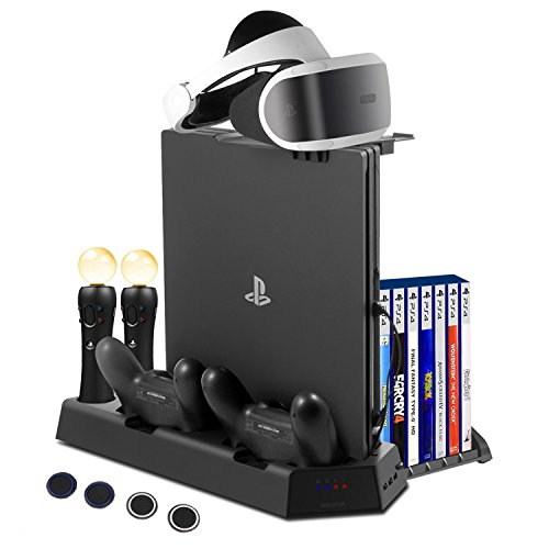 FlexDin PS4 Pro / PS4 Slim / PS4 Standfuß Vertikalständer PS4 Kühler, 2 PS 4 PlayStation Move Controller Ladestation, 2 DualShock 4 Ladestation, VR Brille PS4 Halterung, 3 USB-HUB, 14 Games Storage