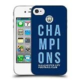 Head Case Designs Officiel Manchester City Man City FC Bleu 2019 Champions Étui Coque en Gel Molle pour iPhone 4 / iPhone 4S