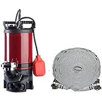 Absolute Profi Schlammsaugerpumpe Hochwasserpumpe Schmutzwasserpumpe 400L/min und 20m C-Schlauch
