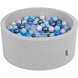 KiddyMoon 90X40cm/300 Balles ∅ 7Cm Piscine À Balles pour Bébé Rond Fabriqué en UE, Gris Clair: Perle-Bleu-Babyblue-Transparent-Argent