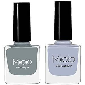 Micio Nail Lacquer Combo of 2 Fancy Colors (Ash Grey & Arctic) Nail Polish (Colors-set 15)