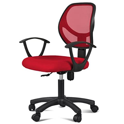 tinkertonk Adjustable Swivel Computer Desk Chair with Arms Seating Back Rest Mesh Fabric (Red)