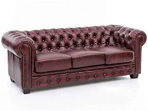 Woodkings® Chesterfield Sofa 3-Sitzer rot Vintage Echtleder Couch Bürosofa Polstermöbel 3 Sitzer antik Designsofa Federkern unikat Herrenzimmer englisches Leder Stilsofa