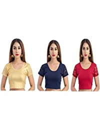 Fressia Fabrics Women'sGold Cotton Lycra Stretchable Readymade blouse Pack of 3