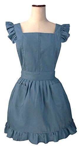 Schürze Blau Kostüm - LilMents Dienstmädchen Rüschen Retro Schürze Küche Kochschürze Kochen Putzen Küchenschürze Kostüme (Blau)