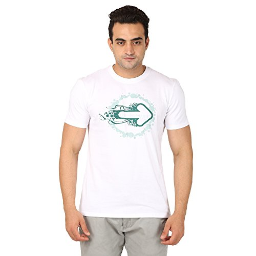 Kactus Men's Regular Fit Arrow Graphic Printed Casual Stylish T-Shirt (ES03, White, S)  available at amazon for Rs.499