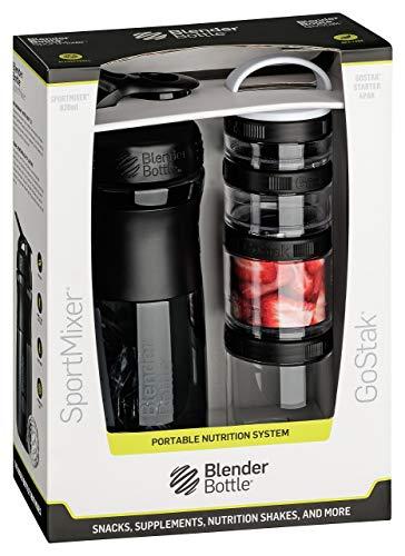 BlenderBottle Combo Pak | Sportmixer Shaker und Gostak Starter 4Pak | mit Henkel | in einer attraktiven Geschenkverpackung - schwarz