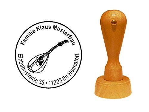 Stempel Holzstempel Motivstempel « MANDOLINE » mit persönlicher Adresse - Zupfinstrument Laute Musik Gitarre