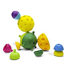 Lalaboom - Sensory Soft Balls - Preschool Toy - Montessori Shapes and Colors Construction Game and Learning Toy for Children from 10 Months to 4 Years Old - BL900, 12 Pieces