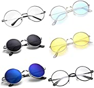 CREEK Unisex Round UV Protection Sunglasses - Black/Yellow/l-Blue/Clear, Combo Pack of 6