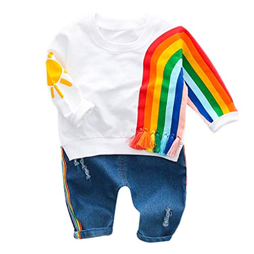 Baby Mädchen Kleidung Set Sommer, Oyedens Kinder Langarm Rainbow Striped Sun Print Sweater Top + Zerrissene Jeans Lange Hosen Zweiteiler