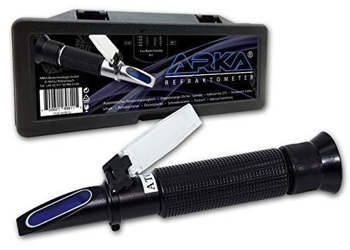 ARKA Aquatics Refraktometer - Dichtemesser/Salinität mit Temperaturausgleich, Doppelanzeige, für jedes Meerwasser Aquarium