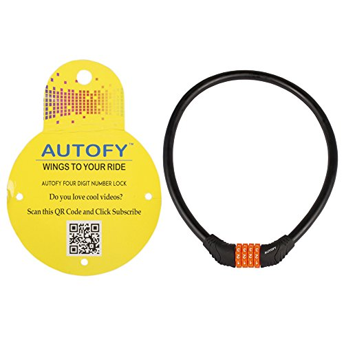 Autofy 4 Digits Universal Multi Purpose Steel Cable (Black and Orange)