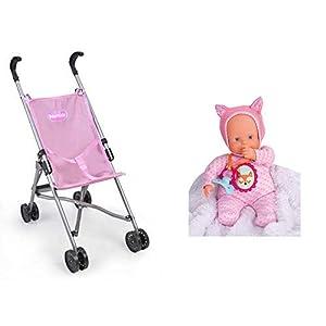 Nenuco Sillita de Metal plagable de Paseo para muñecos bebé (Famosa 700015022) +  Muñeco Blandito 5 Funciones, Color Rosa (700014781)