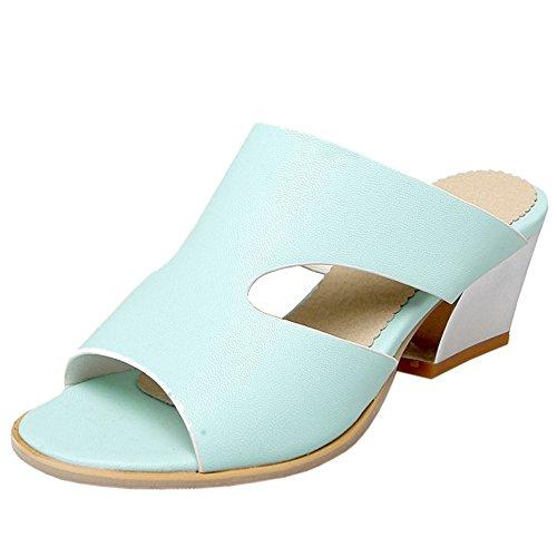 TAOFFEN Femme Confort A Enfiler Slide Chaussures Mules Bloc Talon Moyen Sandales Ete Bleu
