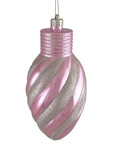 CC Décorations de Noël Bubblegum Paillettes Rose à rayures incassable ampoule de Noël Ornement, 27,9cm