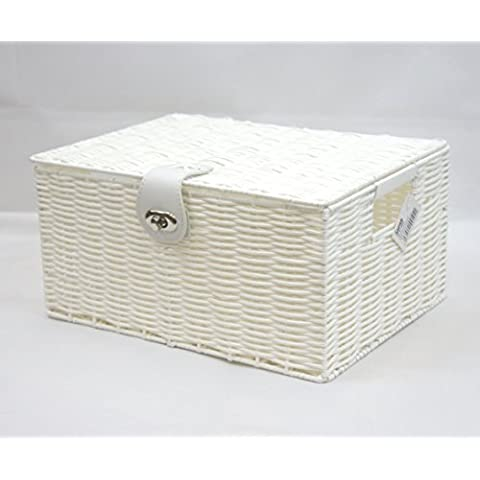 Arpan–Caja de resina Medio tejido de cesta de almacenamiento con tapa & Lock, color blanco