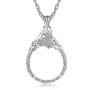 Handlupe Klassische Lupe Glas Konvexlinse Alter Mann Lesebrille 2X Dame Halskette Lupe Silber Durchmesser 41Mm Halskette…