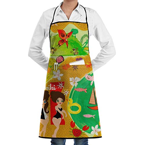Desing shop Sunbathers at Waikiki Apron Gag Gift Apron for Kitchen Cooking Intended for Adult 28 X 20 Inch