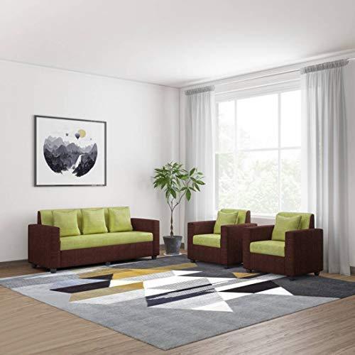 Bharat Lifestyle Tulip Fabric 3 + 1 + 1 Green & Brown Sofa Set