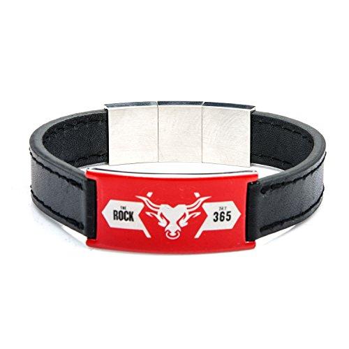 mattel-wwe-the-rock-logo-en-acier-inoxydable-bracelet-en-cuir-noir