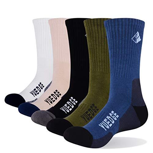 YUEDGE 5 paar Wandersocken Trekkingsocken Atmungsaktiv Sportsocken für Herren Hochleistung, Weiß/Khaki/Blau/Olivgrün/Schwarz, XL (Herren Schuh 43,5-46 EU Größe) -