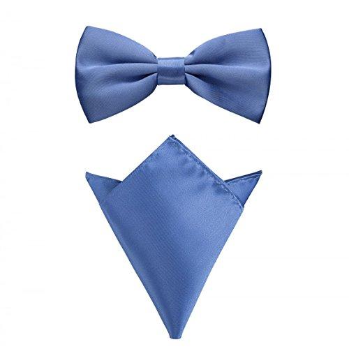 it Einstecktuch in verschiedenen Farben (bis 48 cm Halsumfang) - zur Konfirmation, zum Anzug, zum Smoking - im 2er-Set - Königsblau (Die Weste Und Die Fliege)